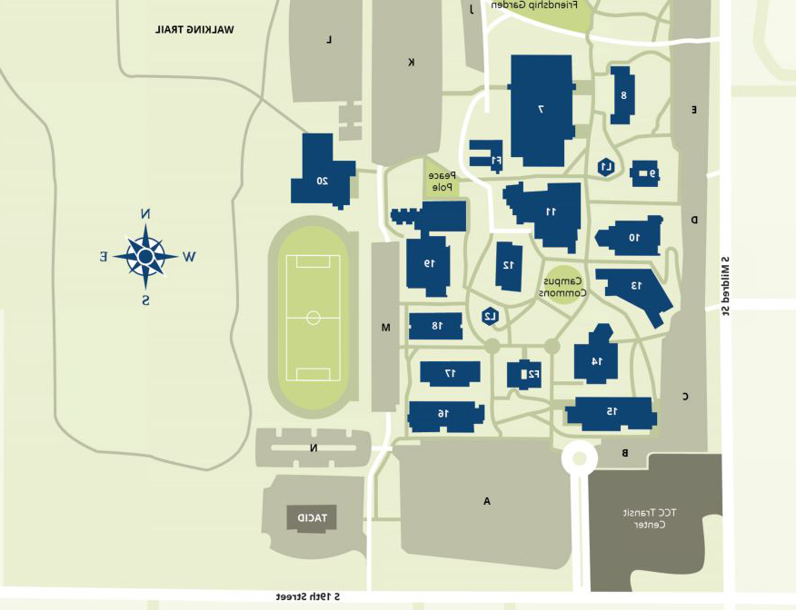 graphic map of TCC campus